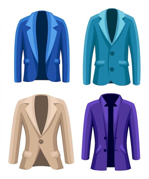 Business suit mens giacca quattro giacche di diversi colori e tipi blu beige viola verde illustrazione su sfondo bianco Vettore Premium