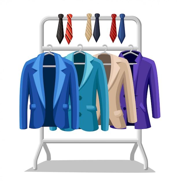Business suit mens giacca quattro giacche di diversi colori e tipi blu verde viola beige legami di diversi colori su un appendiabiti illustrazione su sfondo bianco Vettore Premium