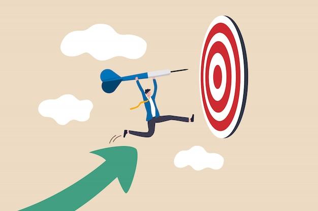 Illustrazione di raggiungimento dell'obiettivo aziendale Vettore Premium
