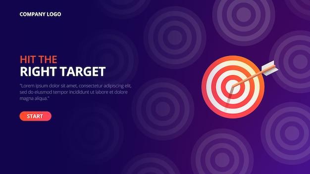 Pagina di destinazione del target aziendale Vettore Premium