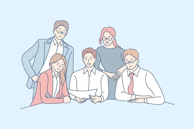 Squadra di affari, collaborazione, concetto di partnership. Vettore Premium