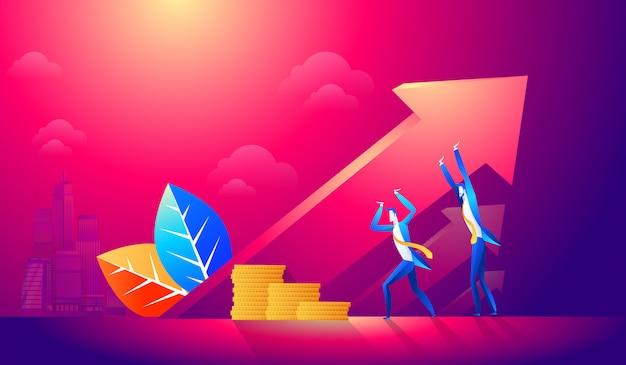 Business team alzando la freccia Vettore Premium