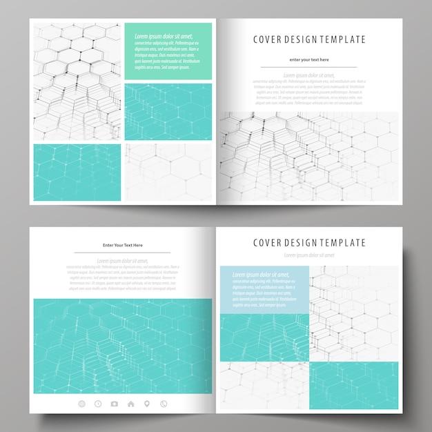 Modelli di business per brochure pieghevole design quadrato Vettore Premium