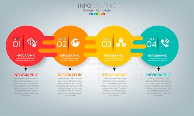 Elementi di infografica timeline aziendale con 5 opzioni o passaggi Vettore Premium