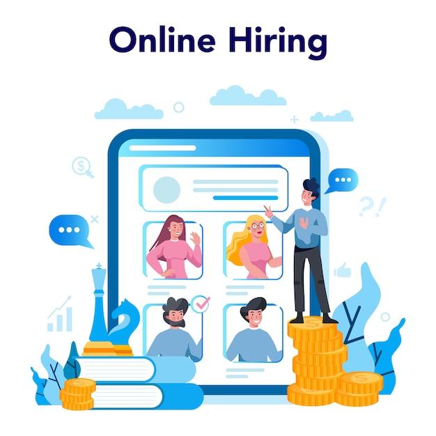 Piattaforma o servizio online di top management aziendale Vettore Premium
