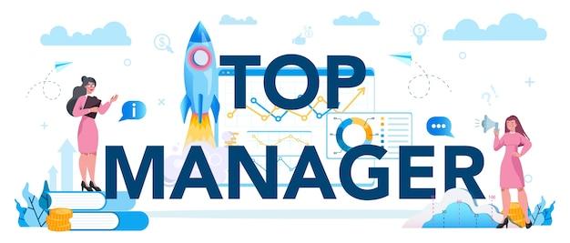 Concetto di intestazione tipografica top management aziendale. riuscito Vettore Premium