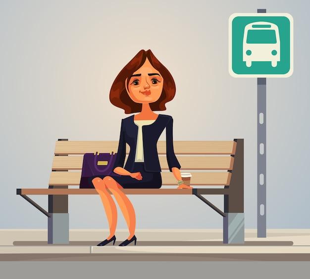 Carattere dell'operaio di ufficio della donna di affari che aspetta l'illustrazione piana del fumetto dell'autobus Vettore Premium
