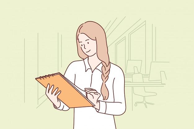 Affari, lavoro, esame, relazione, concetto di ufficio Vettore Premium