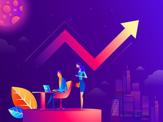 Gestione del flusso di lavoro aziendale e situazioni d'ufficio. Vettore Premium