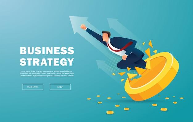 Imprenditore svolta moneta d'oro per il successo Vettore Premium