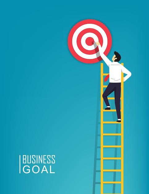 Il carattere dell'uomo d'affari sta salendo un obiettivo della scala all'illustrazione del simbolo dell'obiettivo. passo dopo passo per avere successo negli affari e nella carriera. Vettore Premium