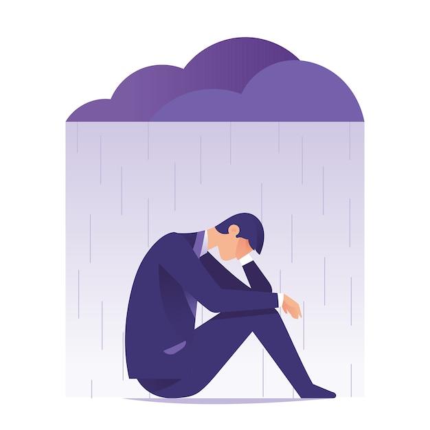 Uomo d'affari sentirsi triste e depressione seduto sotto la pioggia e la nuvola Vettore Premium