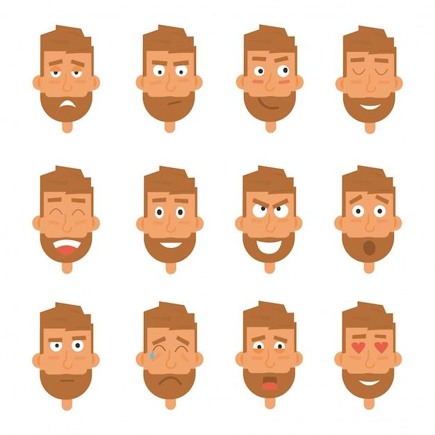 Generazione di uomo d'affari di varie espressioni. emozioni affronta personaggi vettoriali. Vettore Premium
