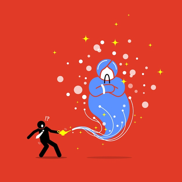 Uomo d'affari e un genio in una lampada. illustrazione di opere d'arte raffigura il concetto di desiderio, concessione, ricompensa, speranza e fortuna. Vettore Premium