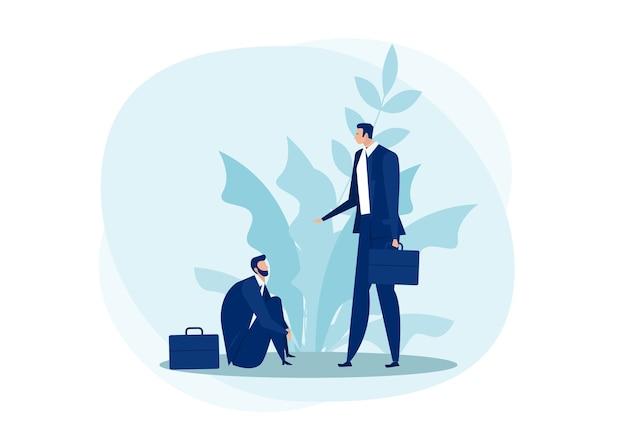 Uomo d'affari che ottiene aiutando la mano dall'illustrazione piana di concetto di empatia di affari che cade. consulenza e concetto di supporto psicologico Vettore Premium