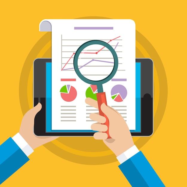 Mani dell'uomo d'affari con grafico finanziario e grafico. Vettore Premium