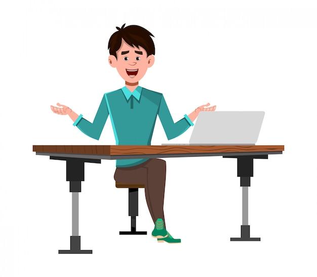Uomo d'affari sulla sua scrivania del computer Vettore Premium
