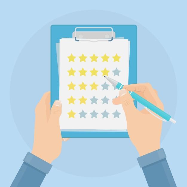 Lista di controllo della tenuta dell'uomo d'affari, questionario in bianco e della matita di valutazione, sondaggio per il feedback, elenco delle attività Vettore Premium
