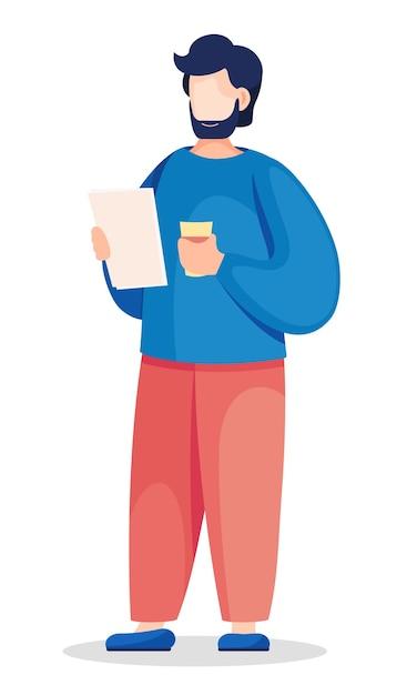 L'uomo d'affari sta levandosi in piedi con i documenti e il bicchiere di carta nelle sue mani. Vettore Premium