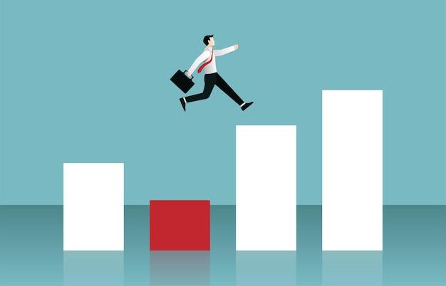Imprenditore saltando sul concetto di grafico a barre. illustrazione di simbolo di affari Vettore Premium