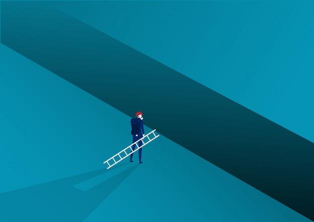 Lo sguardo dell'uomo d'affari porta l'incrocio della scala al successo di scopo con la sfida. illustrazione Vettore Premium