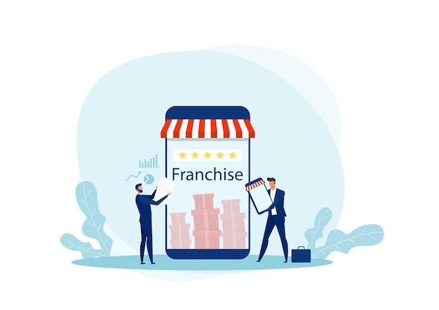 L'offerta dell'uomo d'affari promuove il franchising al cliente per gli investimenti Vettore Premium