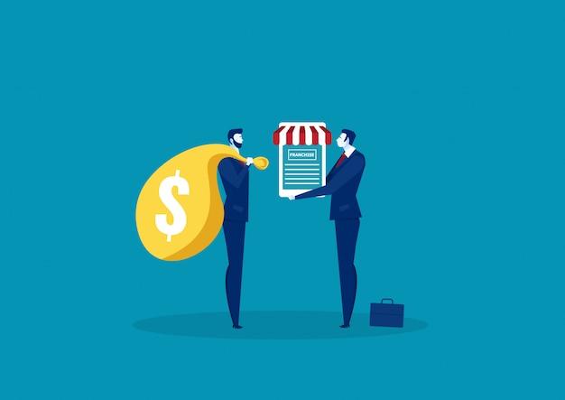 Imprenditore che offre franchising con documento di contratto al cliente. Vettore Premium