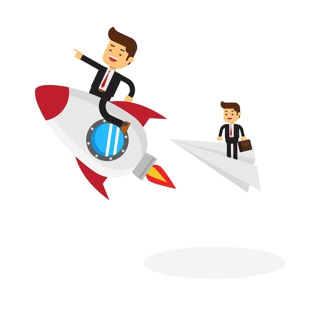 Uomo d'affari su una corsa di razzi Vettore Premium