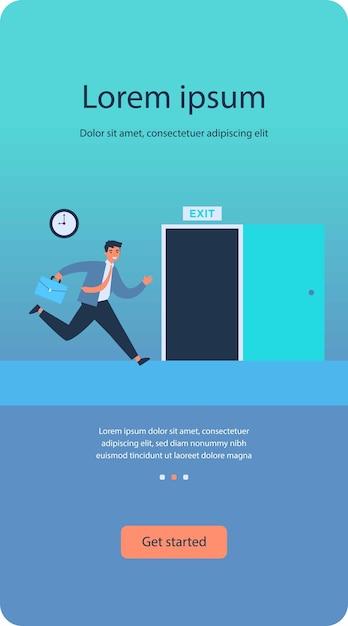 Uomo d'affari in esecuzione per aprire la porta di uscita piatta Vettore Premium