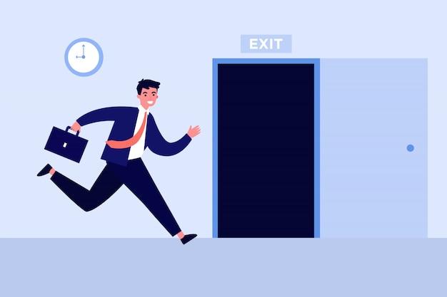 Uomo d'affari che corre per aprire la porta di uscita Vettore Premium