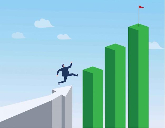 Uomo d'affari che corre verso l'alto del grafico. Vettore Premium