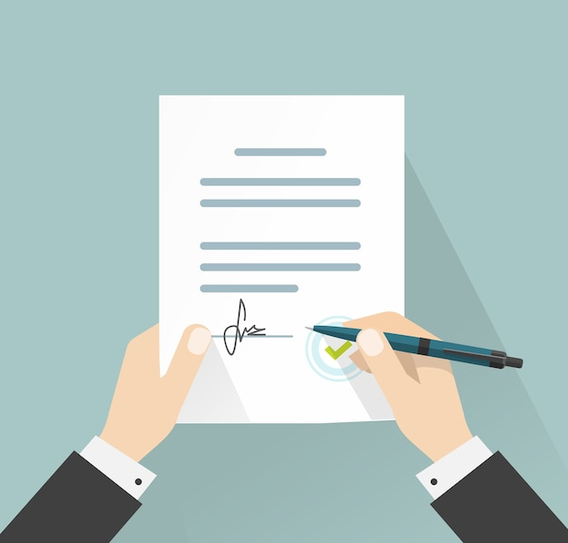 Imprenditore firma contratto documento di accordo con illustrazione della penna Vettore Premium