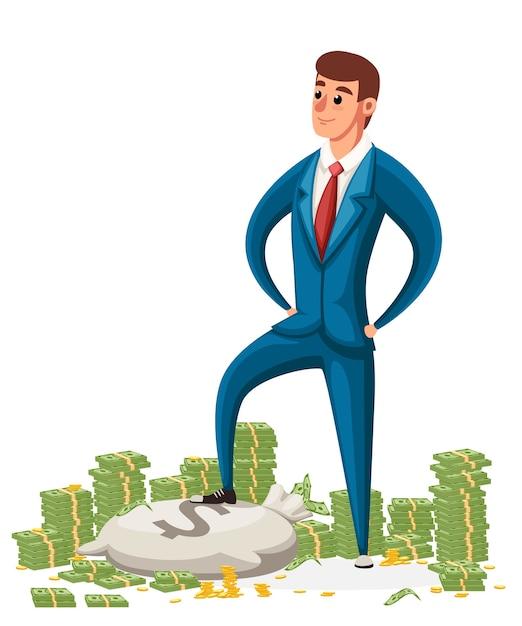 Uomo d'affari stare su un mucchio di soldi. uomo d'affari in abito blu. carattere . Vettore Premium
