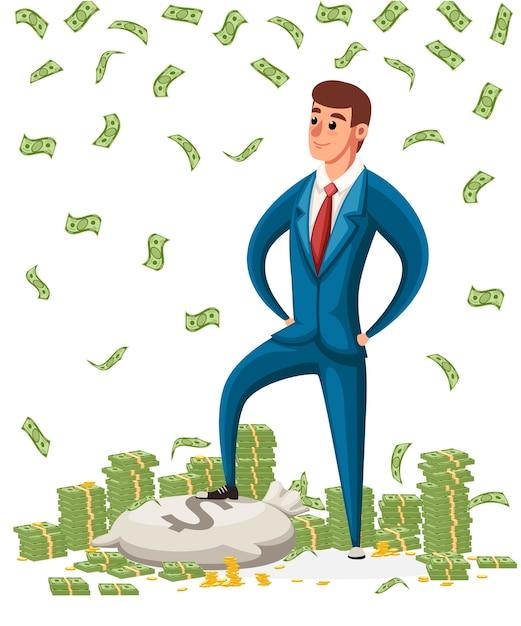 Uomo d'affari stare su un mucchio di soldi. uomo d'affari in piedi sotto la pioggia di soldi. carattere . Vettore Premium
