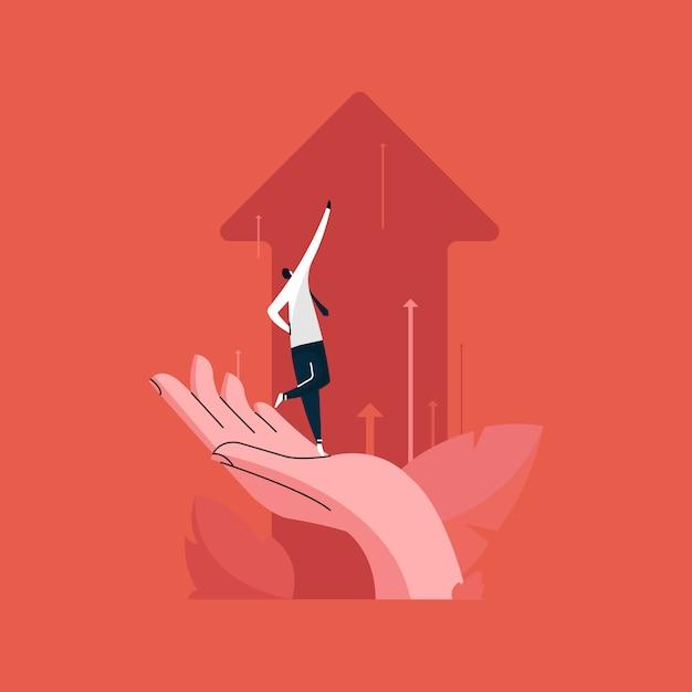 Uomo d'affari che sta sulla mano umana e che spinge le frecce del grafico di affari verso l'alto, concetto di crescita del gruppo di affari Vettore Premium