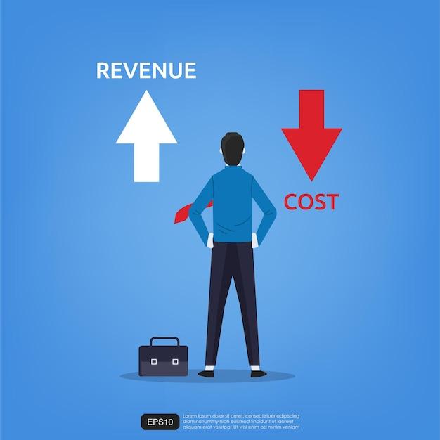 Uomo d'affari in piedi viste freccia su e giù per il simbolo dei ricavi e dei costi Vettore Premium