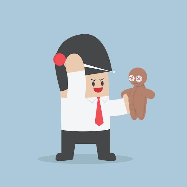 L'uomo d'affari prova a pungere l'ago in una bambola di voodoo Vettore Premium