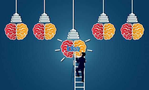 L'uomo d'affari che cammina su sulla scala va alla lampadina dell'icona del cervello, Vettore Premium