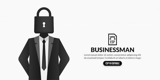 Uomo d'affari con la serratura invece della testa su fondo bianco con lo spazio della copia Vettore Premium