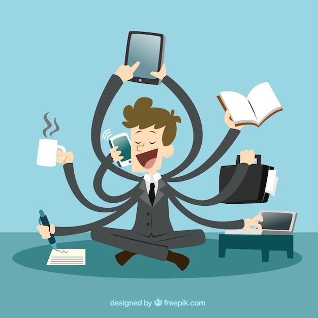 Uomo d'affari con multitasking Vettore Premium