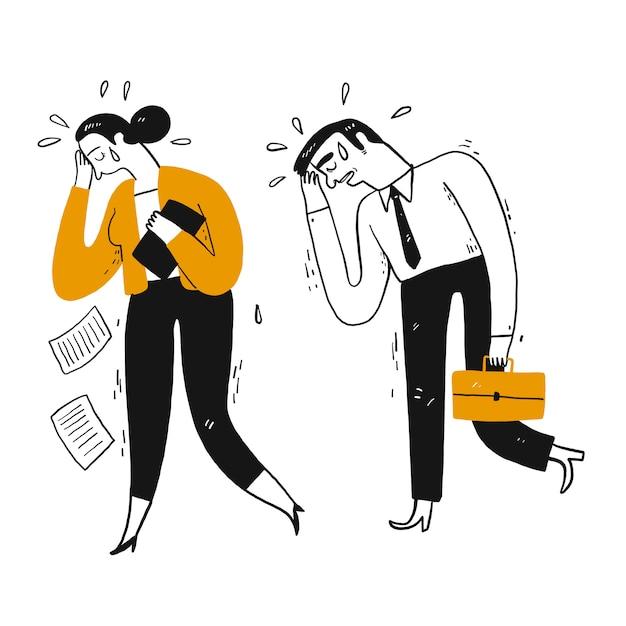 Uomo d'affari e compagno di lavoro stanno piangendo a piedi Vettore Premium