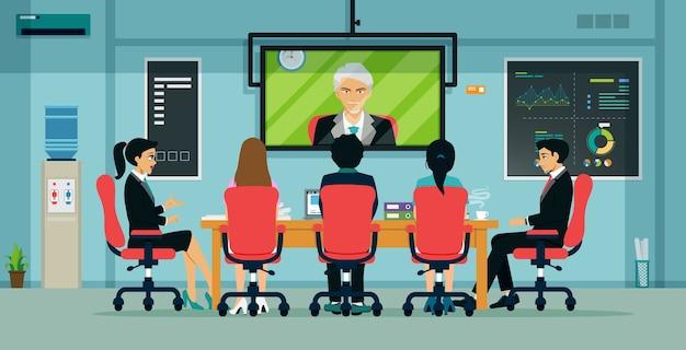 Uomini d'affari e dipendenti hanno riunioni tramite videoconferenza Vettore Premium