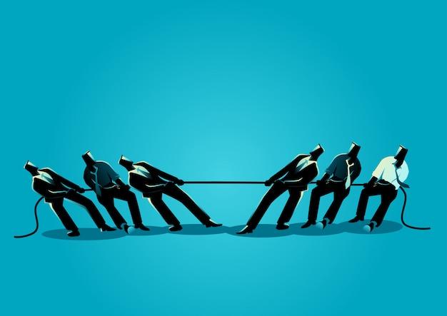 Il lavoro di squadra degli uomini d'affari nel tiro alla fune Vettore Premium