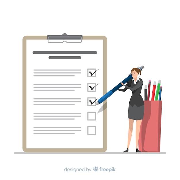 Donna di affari che controlla il fondo gigante della lista di controllo Vettore Premium