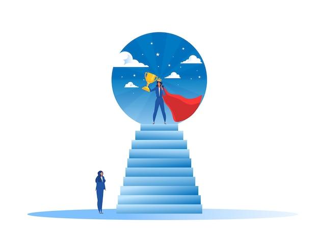 La donna di affari guarda il suo sogno con la donna impower sulla vittoria Vettore Premium