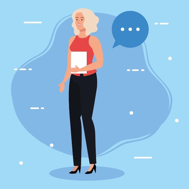 Donna di affari con progettazione dell'illustrazione della bolla di discorso e del documento Vettore Premium