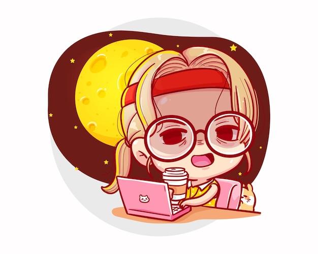 Occupato lavoro ragazza e design del personaggio dei lavoratori Vettore Premium