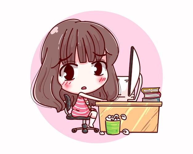 Occupato lavoro ragazza e design del personaggio dei lavoratori. Vettore Premium