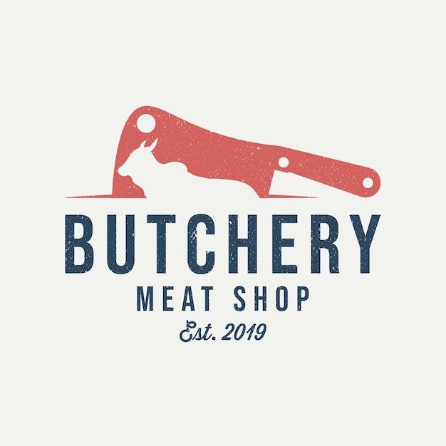 Logo del negozio di macelleria. coltello da carne. emblema dell'annata del negozio di carne. Vettore Premium