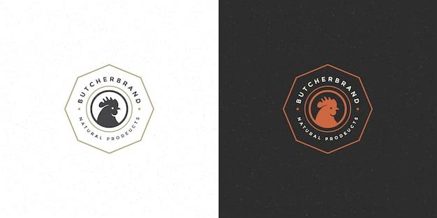 Siluetta della testa del gallo di logo del negozio di macellaio buona per il distintivo del ristorante o dell'azienda avicola Vettore Premium